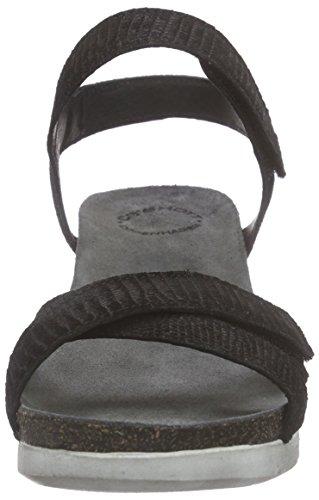 cashott - 15046, Scarpe col tacco con cinturino a T Donna Nero (Schwarz (BLack Tejus 040))