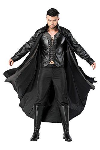 RedJade Herren Vampir Kostüm, Mantel, Top, Hose, Schwarz
