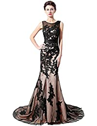 Sarahbridal Women Long Lace Prom Dresses Elegant Wedding Party Formal Ball Evening  Dress for Ladies SSD325 641ae9427