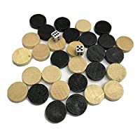 Bigherdez Natural Wooden Chess Draughts & Checkers & Backgammon Chess Piece for Kids Board Game Learning Camping - Wood & Black