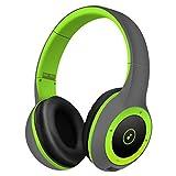 TYWZF Bluetooth-Kopfhörer, Drahtlose Kopfhörer Head-Mounted Bluetooth 4.1 Noise Cancelling Stereo Sicherer Einsatz Karte Fit Für Sport Gym Gym,Green