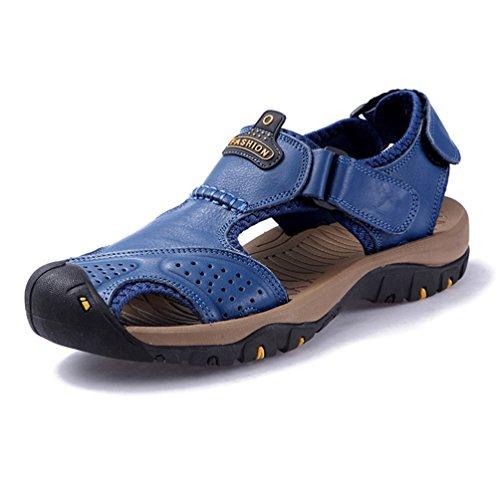 Homme Sandale Chaussure de Cuir Bout Fermée Souple Été Chaussure de Plage Sport Aquatique Antidérapant
