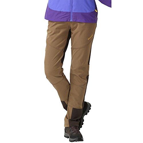 gitvienar Donna Foderato Pantaloni invernali impermeabile antivento + + traspirante + caldo + elastico ispessita softshellhose Berg Pantaloni Pantaloni Pantaloni per escursioni trekking outdoor autunn marrone