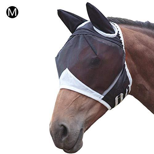 Ardentity Fliegenmaske Pferd, Halbes Gesicht UV-Fliegenmaske für Pferde - Bequeme, Atmungsaktive Pferdemaske mit Ohren