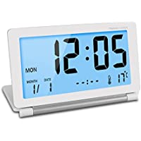 CEEBON Travel Clock Folding Mini Silent Digital Alarm Clock With Smart Night Light Temperature Calendar Big LCD Display and Repeating Snooze for Home Office Travel Use (White)