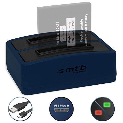 Dual-Ladegerät (USB) für Panasonic DMW-BCK7 | Lumix DMC-FS40, FS45.. | FT25, FT30.. | SZ5, SZ7... - kompatible Geräte siehe Liste! - inkl. Micro-USB-Kabel (2 Akkus gleichzeitig ladbar)