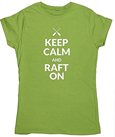HippoWarehouse Keep calm and raft on womens fitted short sleeve t-shirt
