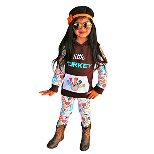 ugeborene Kinder Baby Mädchen Outfits Kleidung Print T-shirt Tops + Hosen Set kleiner Truthahn Thanksgiving Baby Brief Türkei Briefmarke mit Kapuze T-Shirt Hose Anzug (70, Kaffee) (Türkei Baby-kostüm)