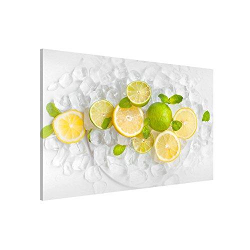 Bilderwelten Pizarra magnética - Citrus Fruits On Ice - Formato apaisado 2:3, magnéticas Decoracion murales Mensajes Impreso metálica Pizarra imantada Pizarra para Cocina Oficina, Tamaño: 60cm x 90cm