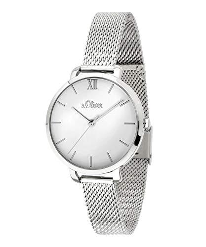s.Oliver Damen-Armbanduhr Analog Quarz Edelstahl (Silber/Silber) SO-3661-MQ