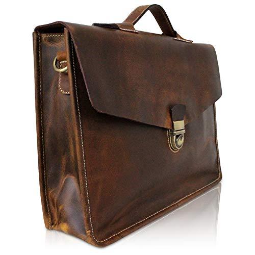 Herren Aktentasche Leder I Hochwertige Herrentasche mit Laptopfach 15,6 Zoll I Leichte Umhängetasche für Geschäftsreise, Uni und Meeting...
