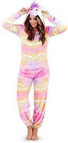 Damen Einhorn Einteiler Damen Pyjama 3D Ohren Hupe & Schwanz Alles in eins Hausanzug - Rainbow Einhorn, M 40-42