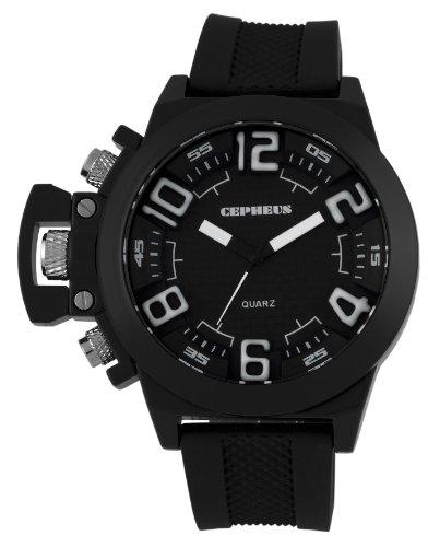 CEPHEUS CP901-622A - Reloj analógico de cuarzo para hombre con correa de silicona, color negro