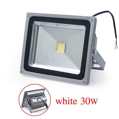 Auralum® 1x 30W LED Flutlicht Fluter Lampe strahler Außen Strahler Scheinwerfer Super hell Leuchte Kaltweiß Wasserdicht Grau