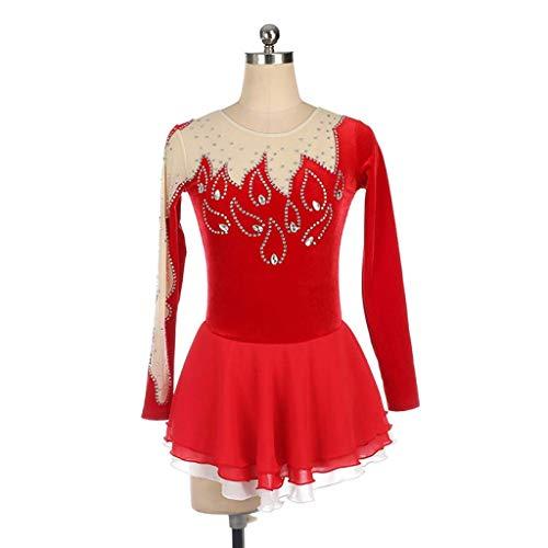 Skating-Anzug, Frauen Mädchen Handgefertigte Langarm Jeweled Skating Rock Hohe Elastizität Quick Dry Ice Skating Kleid (Color : Red, Size : M) Jeweled Kleid