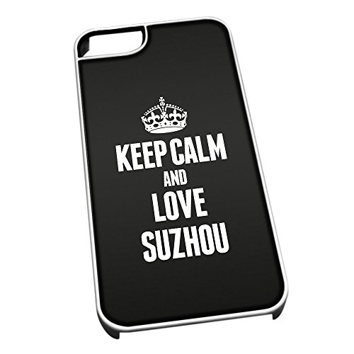 Duke Gifts Bianco Cover per iPhone 5/5S 2375 Nero Keep Calm And Love Suzhou