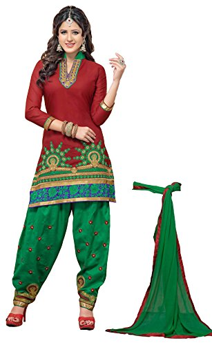 atisundar angelic Maroon Embroidered Traditional Patiala Unstitched Suits In Cotton- 5702_30_5006