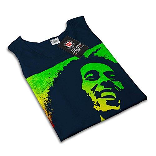 Bob Marley Pot Rasta Rauch Gras Damen S-2XL Muskelshirt | Wellcoda Marine
