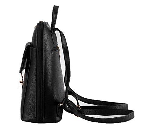 Borsa da Donna Zaino in Pelle Backpack PU Leather Shoulder Bags -LATH.PIN Nero