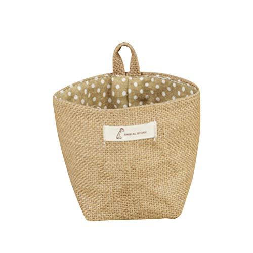 (VORCOOL Grow Bag, Baumwollgewebe Blumentopf Kleine Säcke hängende Gestreifte Jute Lagerung Korb Pflanzen Aufbewahrungstasche (Gelber Punkt))