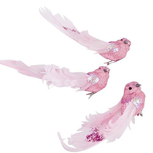 Vogel 3er Set Glitter Xmas Design Clip Deko Baumschmuck Weihnachten (4x18x8cm, Pink)