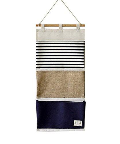 Kimjun Baumwollbeutel Streifen Spleissen Wand hängenden Beutel 3 Taschen Tür zurück Aufbewahrungstasche Hängenden Tasche Mehrschicht-Aufbewahrungstasche Multifunktionale Wohnzimmer Schlafzimmer Bad Utensilo - Blau