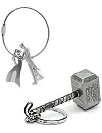 Three Shades Thor Hammer Marvel Avengers Silver Designer Key Chain & Couple Key Chain Combo (Bike & Car)