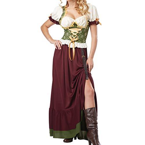 Hongxin Deutsches Dirndlkleid für Damen, Retro Traditionell Spleißparty Abendessen Faltenrock, Elegant Kleiden für Bayerisch Oktoberfest Halloween Karneval(10 Stile S-3XL -