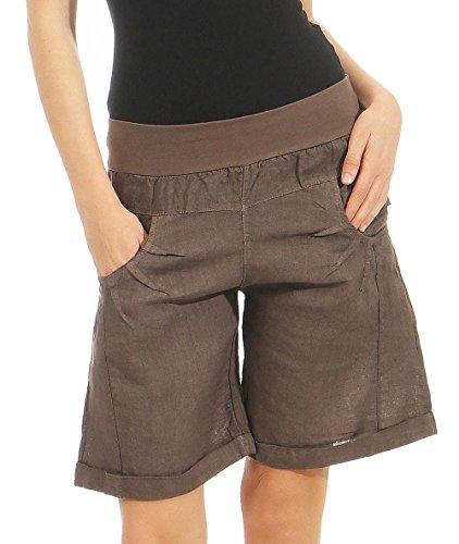 Malito Damen Bermuda aus Leinen | lässige Kurze Hose | Shorts für den Strand | Pants - Hotpants 3001 (Dunkelbraun, S) -