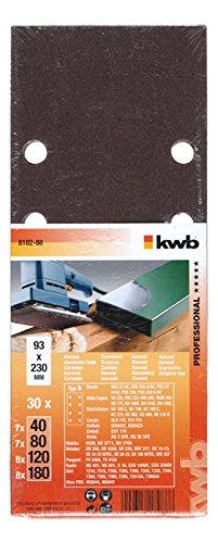 kwb 30 x Korund Schleifstreifen Sparpack für Holz & Metall 818288 (93 x 230 mm, 4 versch....