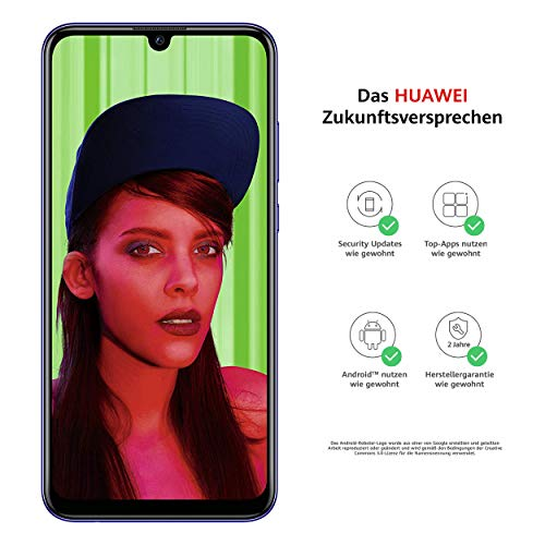 Huawei P smart+ 2019 Dual-Sim Smartphone BUNDLE (Bildschirm 15,77cm (6,21 Zoll), 64GB Speicher, 3GB RAM, Android 9.0) Starlight Blue + gratis 16 GB Speicherkarte [Exklusiv bei Amazon]