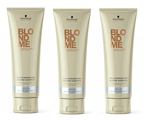 Schwarzkopf Blondme Color Enhancing Blond Shampoo Cool Ice 3 x 250 ml Farb-Pflege-Services - Color Enhancing Shampoo