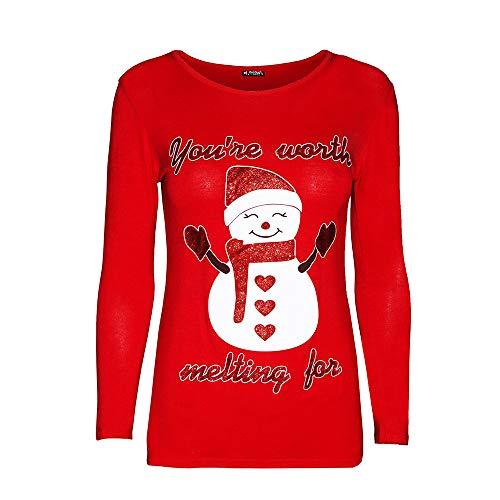 CICIYONER Damen-Weihnachtsdruck-beiläufiges langes Hülsen-Oberteil,Weihnachten Frauen Schneemann Print Tops Sweatshirt Pullover Bluse T-Shirt