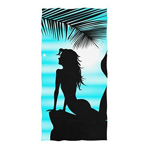 XiangHeFu Luxuxbadekurort-Vielzweck-Ultra weiches in hohem Grade saugfähiges Bad-Handtuch-Nixe-Schattenbild-Blauer Himmel-Dusche