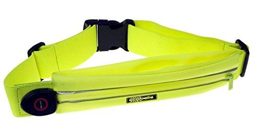 ECOBELLE® Marsupio/Cintura LED da corsa ricaricabile con USB. Impermeabile e Regolabile + Cavo USB LED luminoso. Giallo, ottimo per running e sport in sicurezza. Ideale x Iphone X,8,7,6 e Smartphones