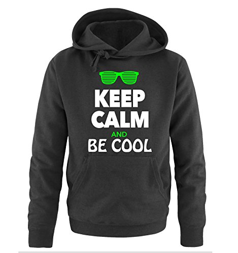 Comedy Shirts - KEEP CALM AND BE COOL - Uomo Hoodie cappuccio sweater - taglia S-XXL different colors nero / bianco-neon verde