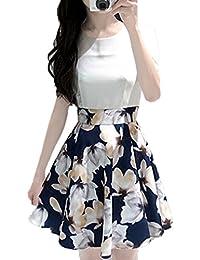 Moda Stampa Cucitura Plissettate Corto Abiti da Sera Partito Cocktail Festa  Dress Estivo Vestiti Donna Casual 6cf6d7f226f