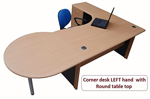 For Sale 2.2 m Office Corner desk Left hand with 4 drawer pedestal & Round table top (Beech / dark grey) Reviews