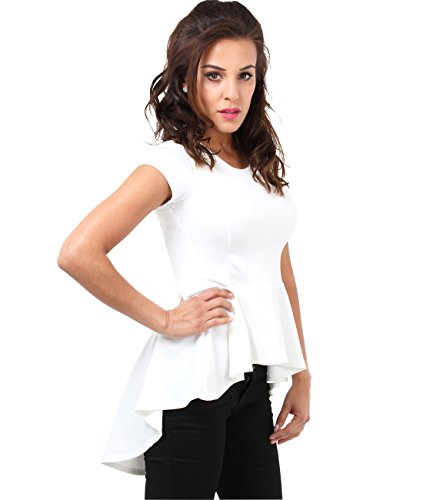 KRISP Women Short Sleeve Fishtail Peplum Top Flared Frill Bodycon Fit Casual Party Mini Dress