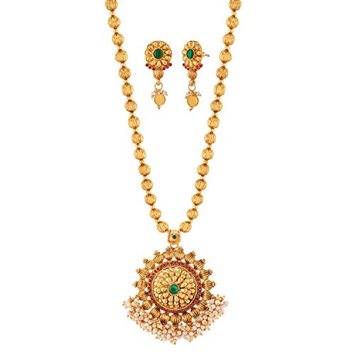 Reeva Red And Green Gold Plated Necklace Set For Women