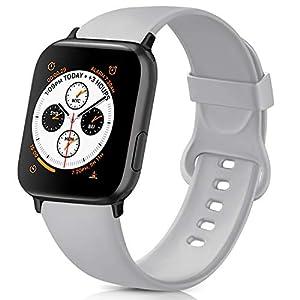 AK kompatibel mit Apple Watch Armband 42mm 38mm 44mm 40mm, Weiche Silikon Sport Ersatz Armband für iWatch Series SE, Series 6, Series 5, Series 4, Series 3, Series 2, Series 1 (Grau, 42/44mm M/L)