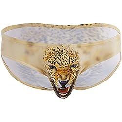 Freebily Calzoncillos Slip Animal Lobo Leopardo Estampado para Hombre Bóxer Ropa Interior Impermeable al Aire Amarillo M