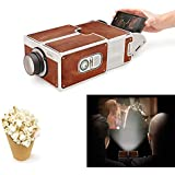 GOURCE Mini Portable Projector 3D DIY 3D Projector Cardboard Mini Smartphone Projector Light Novelty Adjustable Mobile Phone Projector Portable Cinema