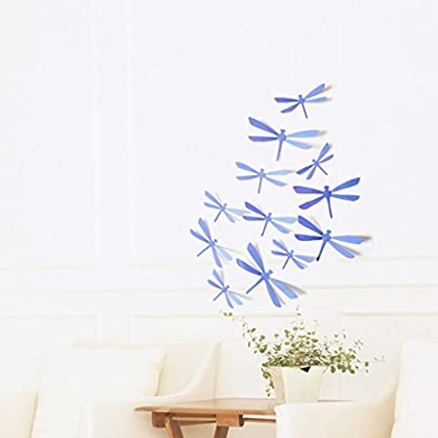 Indexp 12pcs 3D DIY Dragonfly Painting Wall Sticker Creative Bedroom Decorative Art Decals (Purple)