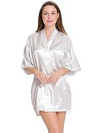 Aibrou peignoir long satin pyjama femme sexy ensemble chemise de nuit peignoir nuisette kimono japonais déshabillé vetement cadeau pour la fête mariage