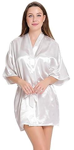 Aibrou peignoir long satin pyjama femme sexy ensemble chemise de nuit peignoir nuisette kimono japonais déshabillé vetement cadeau pour la fête mariage (Blanc, XXL )