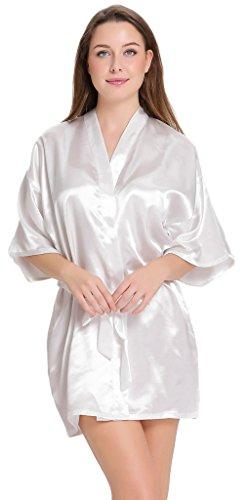 Aibrou femme robe Chemise de nuit satinée peignoir chambre kimono coquet et féminin nuisette confortable Satin un goût Japon (Blanc,L )