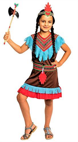 Magicoo braunes Indianer Kostüm Kinder Mädchen - Faschingskostüm Indianerin Kostüm ()