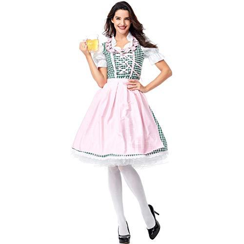 Kostüm 1950's Jungen - Damen Okotberfest Dirndl Kostüm Grün Kariertes Kleid Schürze Deutschland Bayern Bier Teil Deluxe Festival Bar Kostüm Größe S-3XL