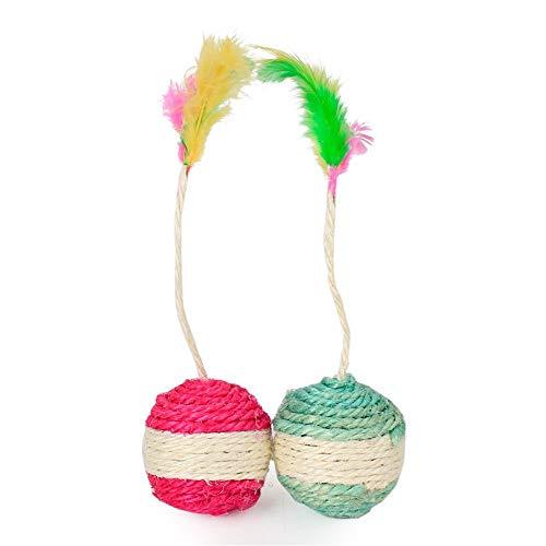 pielzeug Sisal Skorpion Ball Haustier Katze Molaren Schleifen Klaue Bunte Federball Spielzeug Hawo Katzenspielzeug (Color : Pink) ()